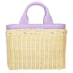 Atraktivní pletená kabelka s fialovými úchyty + dárek zdarma