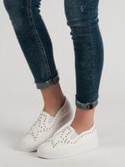 Módní bílé dámské tenisky bez podpatku