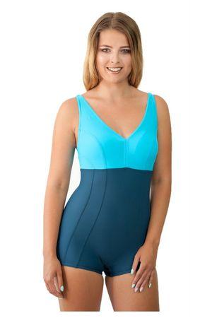 Damski jednoczęściowy kostium kąpielowy 930 grey-turquoise, grafitowy, L