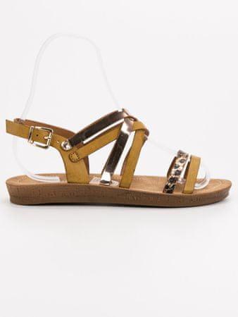 Sandały damskie 53321, odcienie brązu i beżu, 38