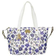Stylová bílá kabelka s modrým květinovým potiskem