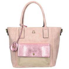Jedinečná růžová kabelka s kapsou na přední straně