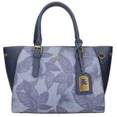 Moderní modrá kabelka s potiskem