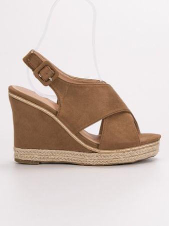 Sandały damskie 54047, odcienie brązu i beżu, 40