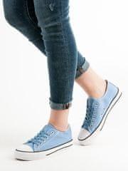 Komfortní dámské tenisky modré bez podpatku