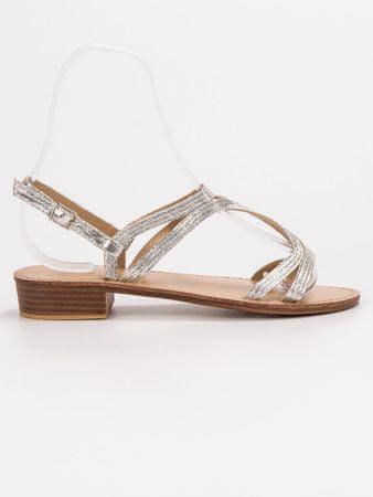 Női szandál 56589 + Nőin zokni Sophia 2pack visone, szürke és ezüst árnyalat, 37