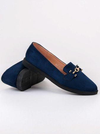 Praktické baleríny dámské modré bez podpatku, odstíny modré, 37