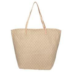 Elegantní béžovo-zlatá plážová taška