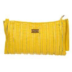 Zajímavá žlutá plisovaná kabelka přes rameno