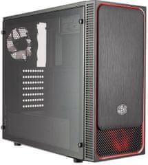 Cooler Master MasterBox E500L, čierna, červený rámček