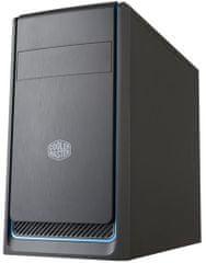 Cooler Master MasterBox E300L, čierna, modrý rámček