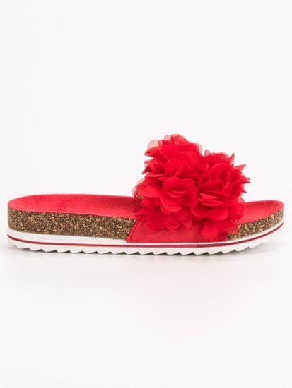 Luxusní dámské nazouváky červené bez podpatku, odstíny červené, 36