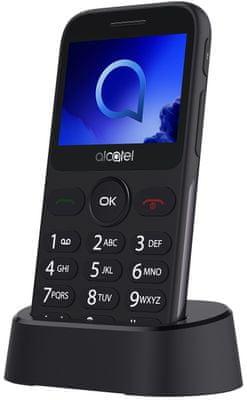 Alcatel 2019G, mobil pro seniory, nabíjecí stojánek, velká výdrž baterie