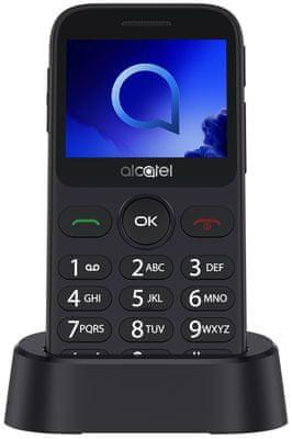 Alcatel 2019G, mobil pro seniory, velká tlačítka, SOS tlačítko, nabíjecí stojánek, Dual SIM, dlouhá výdrž, jednoduché ovládání