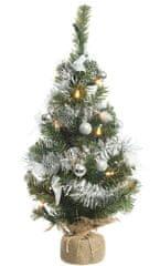 Kaemingk Mini vánoční stromeček se světýlky, nazdobený stříbrnými ozdobami, 60 cm, 20 LED