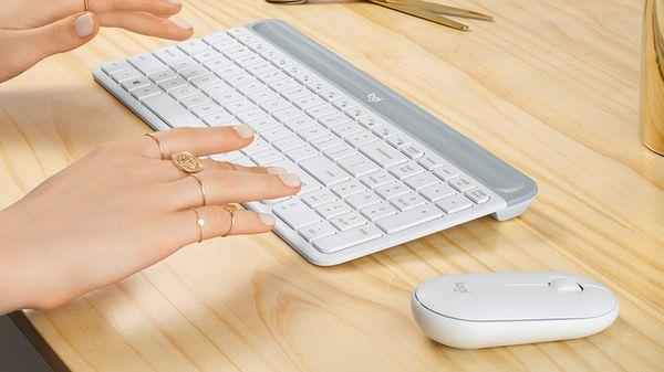 Klávesnice a myš Logitech MK470 Slim Wireless Combo, CZ nízkoprofilové klávesy, numerická klávesnice, myš pro praváky i leváky