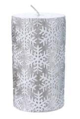 """Kaemingk """"Snežinka"""", božična svečka, srebrna"""