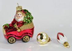 DUE ESSE Skleněná vánoční ozdoba Santa v autě 3 ks v boxu