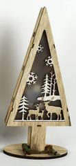 DUE ESSE jelenčki, svetleče leseno božično drevo, 32 cm