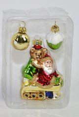 DUE ESSE Skleněná vánoční ozdoba Santa a medvěd 3 ks v boxu