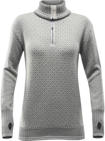 Devold Slogen Woman Zip Neck Grey Melange/Offwhite S