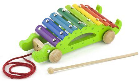 Viga Dřevěný tahací xylofon krokodýl