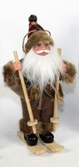 DUE ESSE Vianočná dekorácia Santa na lyžiach 19,5 cm, hnedý