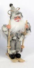DUE ESSE Vánoční dekorace Santa na lyžích 19,5 cm, šedý
