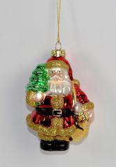 DUE ESSE Skleněná vánoční ozdoba Santa a medvěd 3ks v boxu