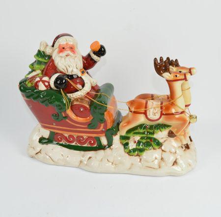 DUE ESSE Svietiaci a hrajúci Santa na saniach 33,5 cm