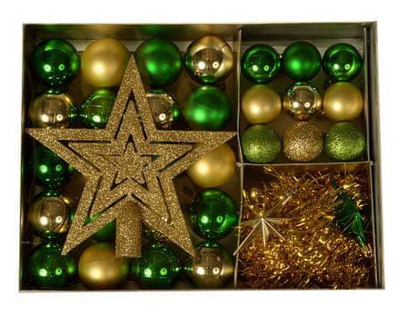 EverGreen Kolekce koulí 33-dílná + špička + 2 x hvězda + řetěz 2 m, LUX set 2