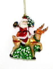 DUE ESSE Stakleni božićni ukras Djed Božićnjak i sob