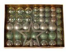 EverGreen 36 darabos gömb készlet + csúcsdísz + 6 toboz, LUX készlet