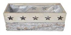 EverGreen Truhlík dřevěný s hvězdičkami, 25x12x10 cm