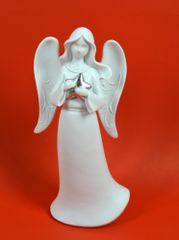 DUE ESSE Vánoční dekorace anděl se stříbrnou hvězdou 25 cm