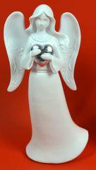 DUE ESSE Božićni ukrasni anđeo sa srebrnim srcem 25 cm