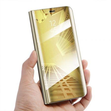 Onasi torbica Clear View za Samsung Galaxy A70 A705, preklopna, zlata