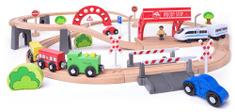 Woody železnica z električnim vlakcem in viaduktom