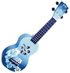 Mahalo  Soprano Ukulele Hibiscus Blue Burst
