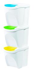 Prosperplast kosz na odpady 3 x 20 l biały