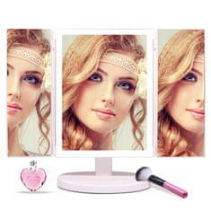 Bezdoteku BEZDOTEKU Třípanelové kosmetické make-up zrcátko s led osvětlením velké bílé