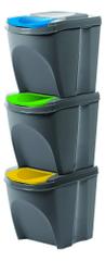 Prosperplast kosz na odpady 3 x 25 l szary