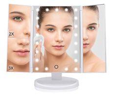 Bezdoteku BEZDOTEKU Třípanelové kosmetické make-up zrcátko s led osvětlením bílé zvětšovací