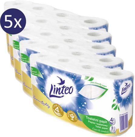 LINTEO Toaletní papír LINTEO - 4-vrstvý - bílý - 5 x 8 rolí