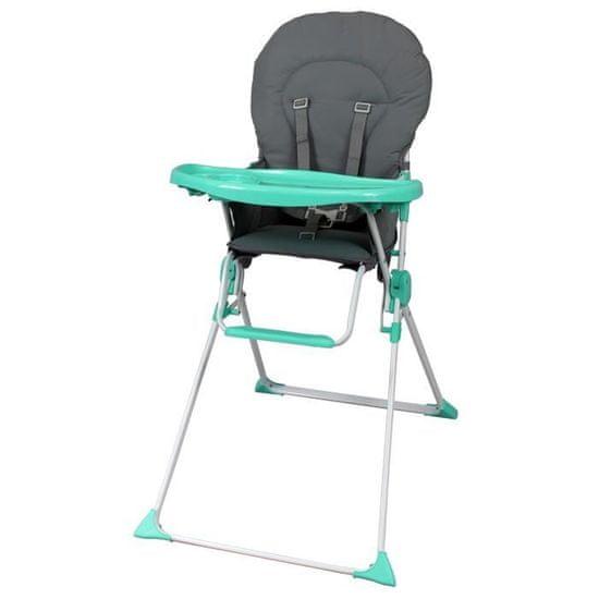 Bambikid dětská jídelní židlička - šedá/zelená