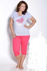 Stylomat Dámské pyžamo Sylvie nadměrná velikost šedo růžové