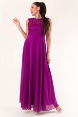 Stylomat Dlouhé šaty s krajkou fialové