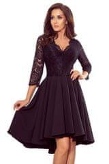 Numoco Černé asymetrické šaty s krajkou