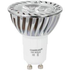 Omnilux 230V GU-10 3x1W LED , modrá, chladič