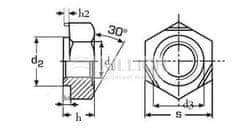 Killich matice M8 BEZ PÚ přivařovací DIN 929